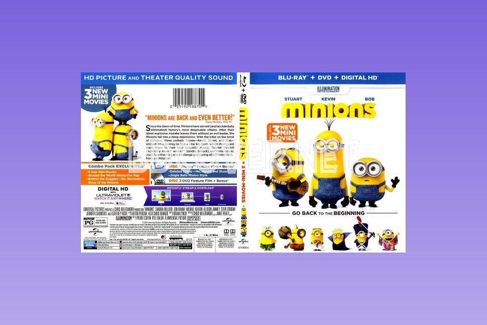 Blu-Ray Covers | DVD Covers | Blu-ray Labels | Minions & 3